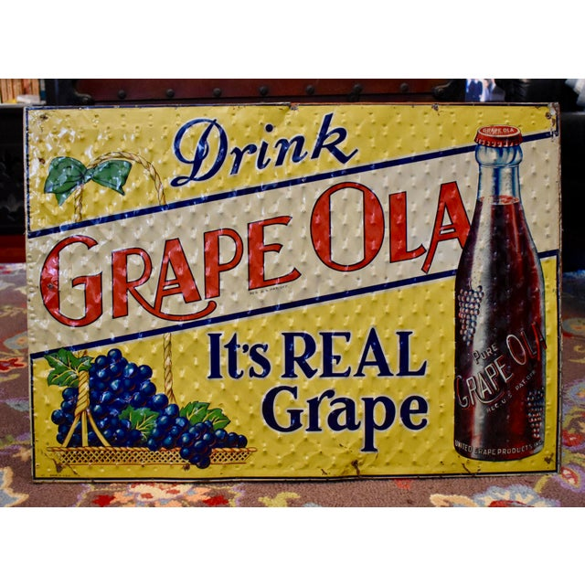 Quilted Tin Advertising Sign, Early 20th-C. Grape Ola Soda For Sale - Image 9 of 11