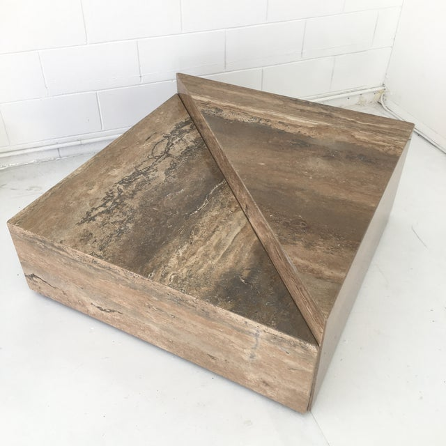 1990s Italian Two Triangular Offset Stone Coffee Table - 2 Pieces For Sale - Image 5 of 13