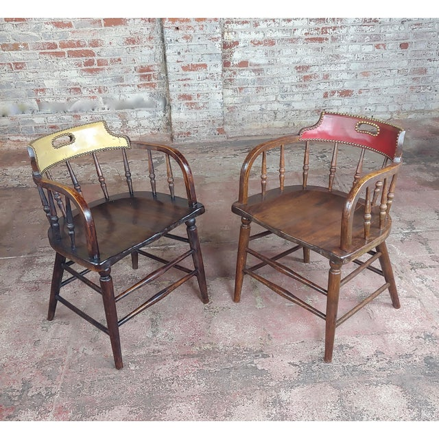 Antique Captain Old West Gambling Arm Chairs -Set of 6 For Sale - Image 4 of 8