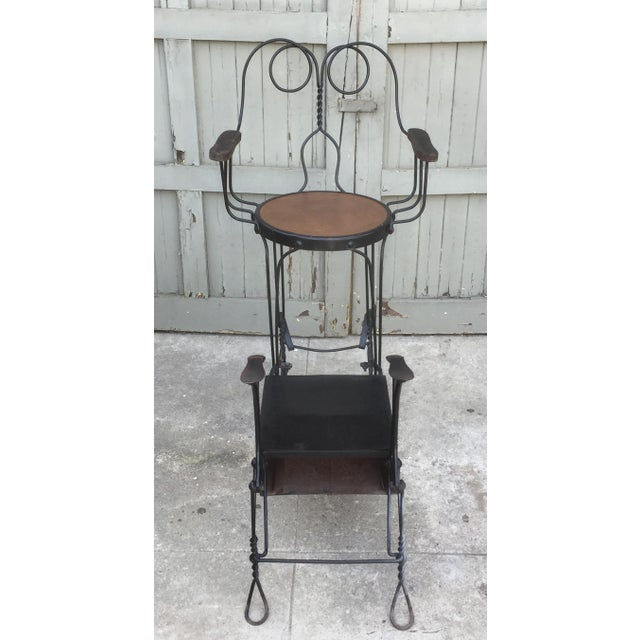 Antique Twisted Iron Shoe Shine Stand For Sale In Los Angeles - Image 6 of 7