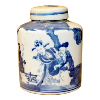 Chinese Blue White Ceramic 3 Gods Graphic Container Urn Jar For Sale