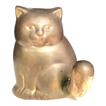 Vintage Brass Cat Wall Hook For Sale