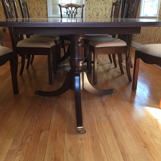 Beautiful formal dining set, Hickory Chair mahogany dining table and eight mahogany Maitland Smith side chairs. The set...