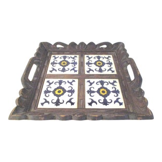 Mexican Carved Wood & Tile Tray For Sale
