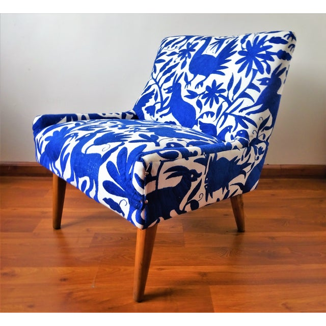 Mid-Century Bohemian Cobalt Blue Otomi Hand Embroidered Lounge Chair For Sale In San Diego - Image 6 of 11