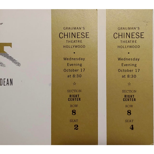 """1950s """"Giant"""" Original 1956 Chinese Theater Hollywood Premiere Tickets - a Pair For Sale - Image 5 of 7"""
