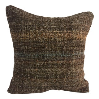 Turkish Tribal Brown and Orange Handmade Decorative Kilim Pillow Cover For Sale