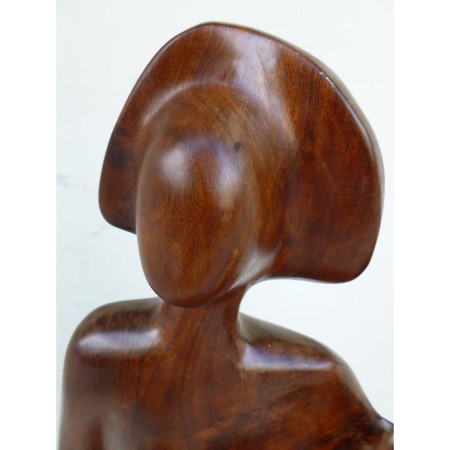 Burlwood 1970s Mid Century Modern Biomorphic Burl Wood Sculpture of Madonna and Child For Sale - Image 7 of 12