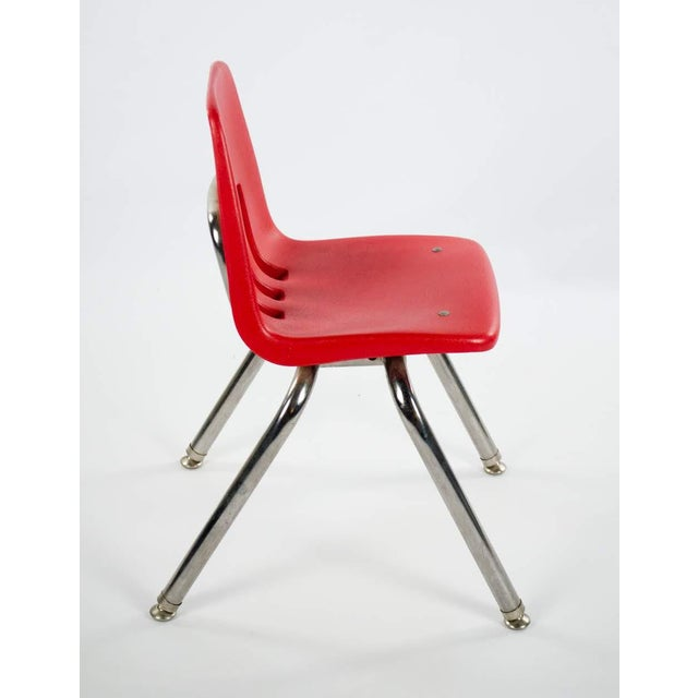 1960s Virco Mid-Century Red Stacking School Chairs - Set of 4 For Sale - Image 5 of 12