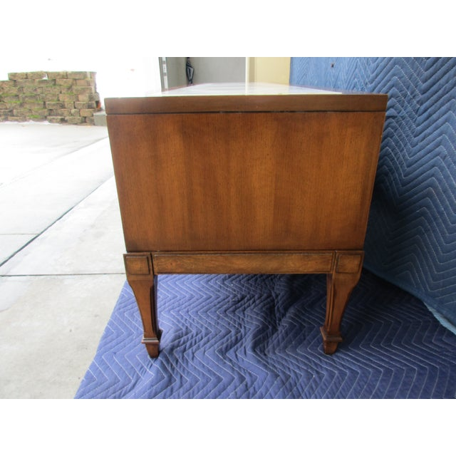 Hollywood Regency 1970s Hollywood Regency Weiman Burl Wood Console Cabinet For Sale - Image 3 of 12