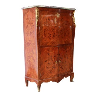 19th Century French Inlaid Marquetry Marble Top Abattant Secretaire