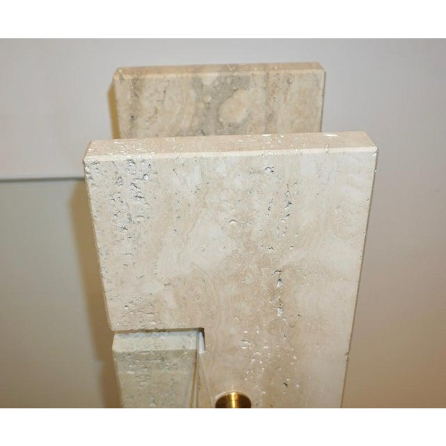 Brass Jean Charles 1970s French Minimalist Ivory White Travertine Console For Sale - Image 7 of 13