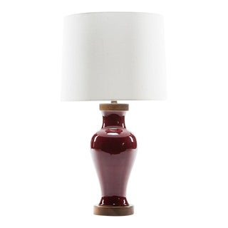 Lawrence & Scott Gabrielle Baluster Porcelain Lamp in Pinot Red For Sale