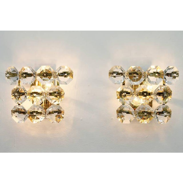 Pair of Glass and Gilded Brass Wall Sconces, 1960s For Sale - Image 4 of 6