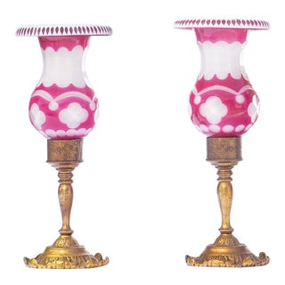 20th C. French Ruby and Opaline Bronze Lamps For Sale