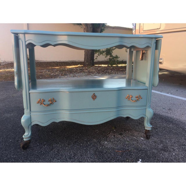 French Bassett Furniture Rolling Serving Car For Sale - Image 3 of 12