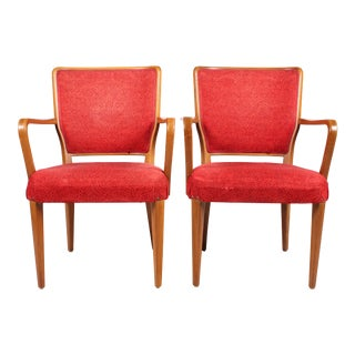 Pair of Red Upholstered Mid-Century Modern Armchairs For Sale