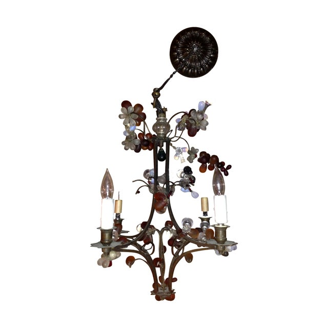 Antique Brass Finish Chandelier with Glass Grapes - Image 1 of 5