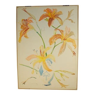 Large Lilies in Arts & Crafts Vase Watercolor Stanley Reginald Wilson British For Sale