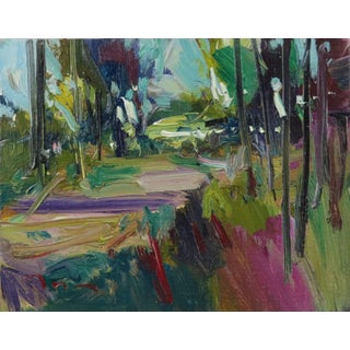 """""""Colorful Path"""" Contemporary Expressionist Style Landscape Oil Painting by Jose Trujillo For Sale"""