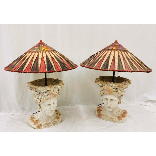 Pair Vintage Seashell Covered Bust Sculptural Lamps For Sale - Image 13 of 13