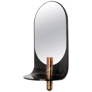 Dark Stone Wall Mirror With Integral Vase and Shelf by Birnam Wood Studio For Sale