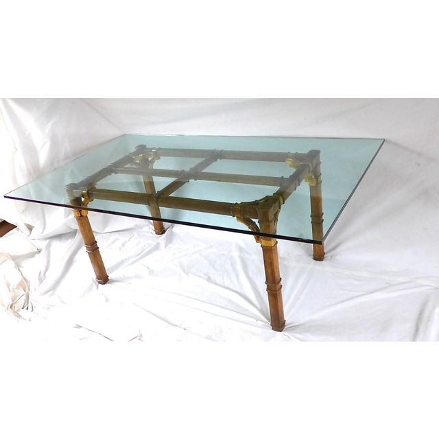 Hollywood Regency Bamboo & Glass Dining Table For Sale In New York - Image 6 of 9