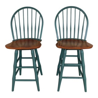 Nichols & Stone Hoop Back Windsor Style Counter Stools - a Pair For Sale