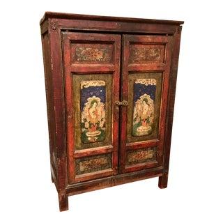 Antique Asian Petite Two Door Painted Tibetan Door Cabinet For Sale