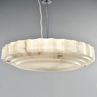 Large Italian Custom Made Hand Carved Alabaster Hanging Fixture Preview
