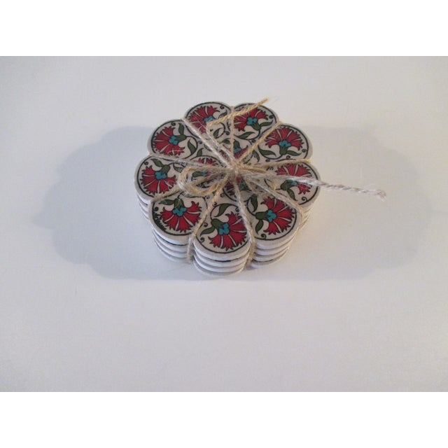 Vintage Set of Four (4) Red and Green Carnations Turkish Ceramic Coasters For Sale In Miami - Image 6 of 6