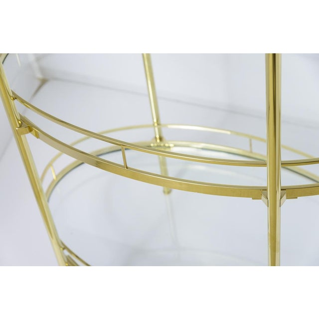 Metal Brass Three Tier Bar/Etagere Midcentury Signed Maxwell-Phillips Oval For Sale - Image 7 of 12
