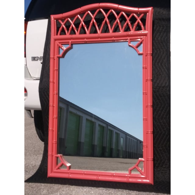 Palm Beach Flamingo Pink Faux Bamboo Wall Mirror For Sale - Image 9 of 11