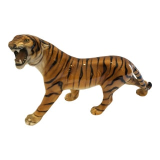 1940s Vintage Italian Ceramic Growling Tiger Sculpture For Sale