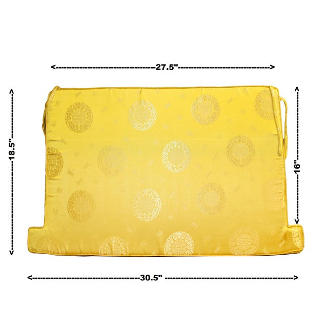 2010s Chinese Oriental Golden Yellow Silk Fabric Rectangular Seat Cushion Pad For Sale - Image 5 of 6