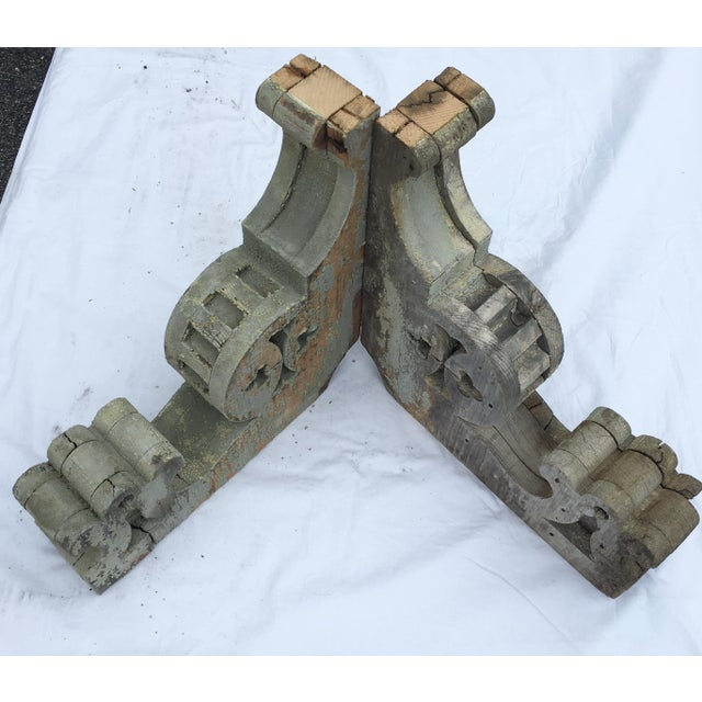 Weathered Wooden Corbels - A Pair For Sale - Image 4 of 6