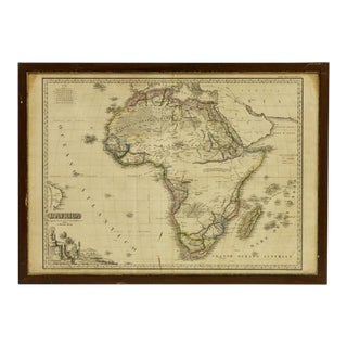 Italian Framed Printed and Hand Colored Map of Africa For Sale