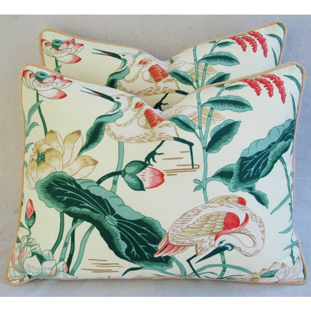 Egrets & Lotus Blossom Pillows - a Pair - Image 2 of 11