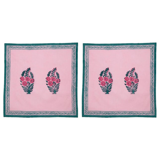 Roza Napkins, Pink & Teal - A Pair For Sale - Image 4 of 4