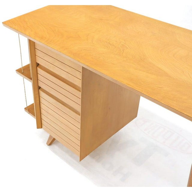 Light Birch Single Pedestal Petit Desk With Bookcase and Three Drawers For Sale - Image 10 of 12