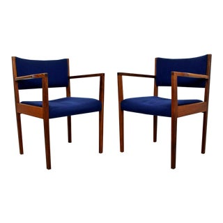 Mid Century Modern Walnut Lounge Armchairs by Jens Risom 1960s Blue Seat - a Pair For Sale
