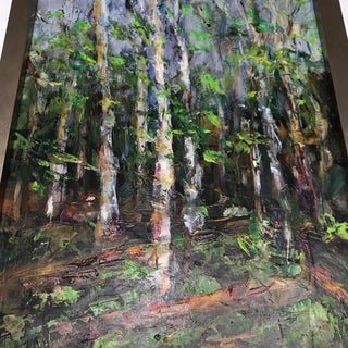 Birch Forest Original Abstract Oil Painting Preview