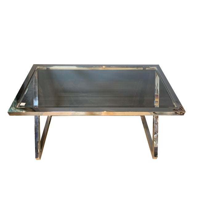 Worlds Away Contemporary stainless steel desk with beveled glass top.