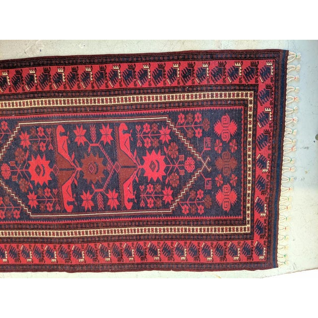 Red Persian, Hand- Woven Red Rug, With Braided Tassels, Vintage For Sale - Image 8 of 9