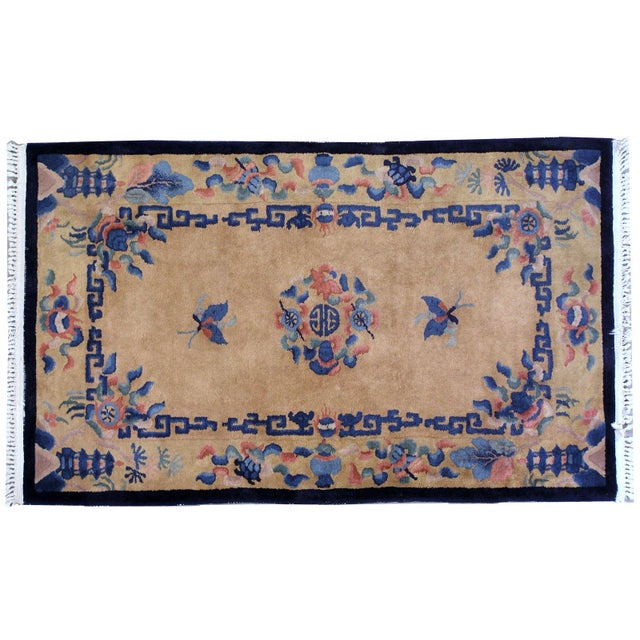 Handmade antique oval Art Deco Chinese rug in original condition. This rug made in very soft shades of beige, sky blue and...