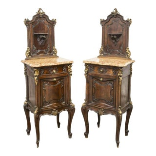 Early 20th Century Louis XV Style Walnut Marble Top Vintage Bedside Cabinets - a Pair For Sale