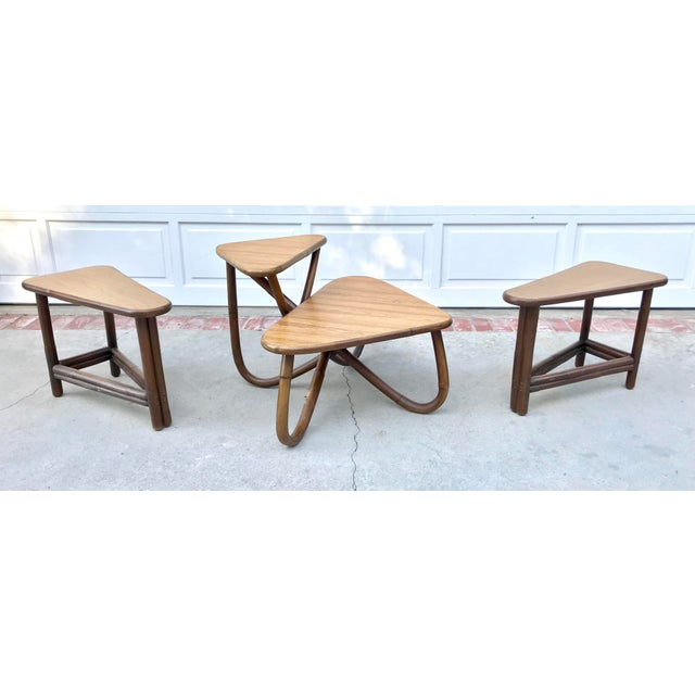 Vintage Bamboo Side & Coffee Table Set - Set of 3 - Image 3 of 7