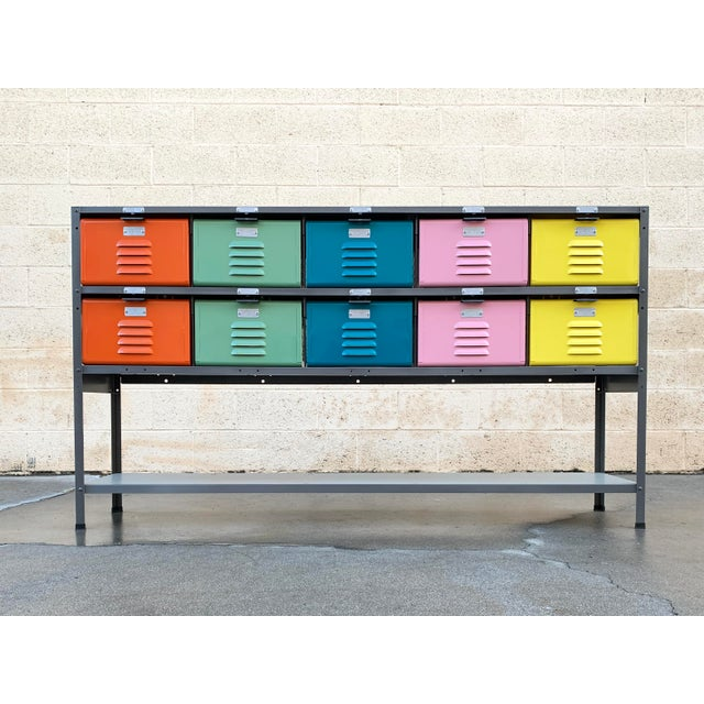 Custom Made 5 X 2 Locker Basket Unit With Multicolored Drawers and Shelf For Sale - Image 9 of 9