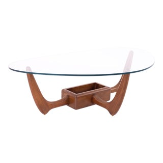 Kroehler Mid Century Walnut Biomorphic Glass Coffee Table With Planter Base For Sale