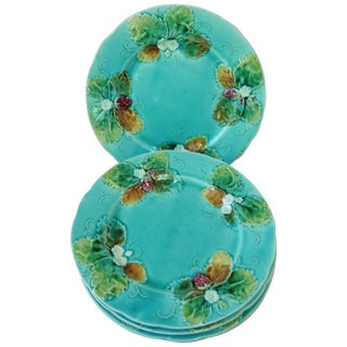 Late 19th Century Vintage Majolica Strawberries Plates- Set of 4 For Sale